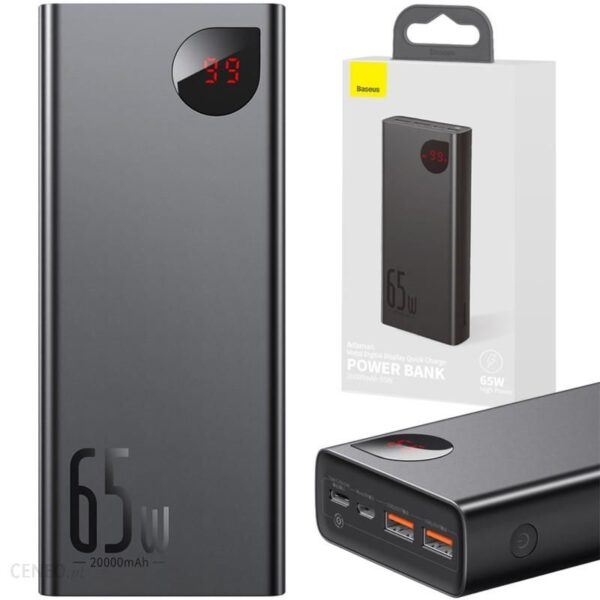 Powerbank BASEUS Adaman 20000mAh 65W PD QC 4.0 Czarny (02690)