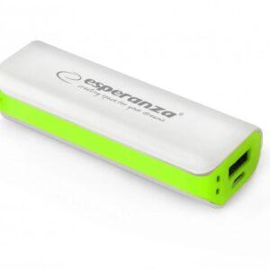 Powerbank Esperanza 2200mAh Biały/Zielony (EMP103WG)