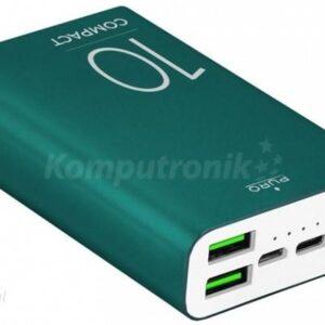 Powerbank Puro Compact 10000mAh 2xUSB-A USB-C Zielony (FCBB100P7DKGRN)