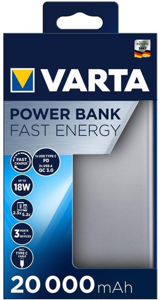 Powerbank Varta 20000mAh Szary (57983101111)