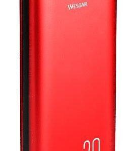 Powerbank Wesdar 20000Mah 2X Usb 1X Micro Usb Typ-C Led M555024 Czerwony