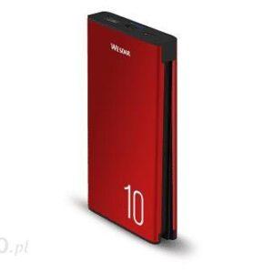 Powerbank Wesdar Aluminiowy 10000Mah Kabel Micro Usb Typc M555023 Czerwony